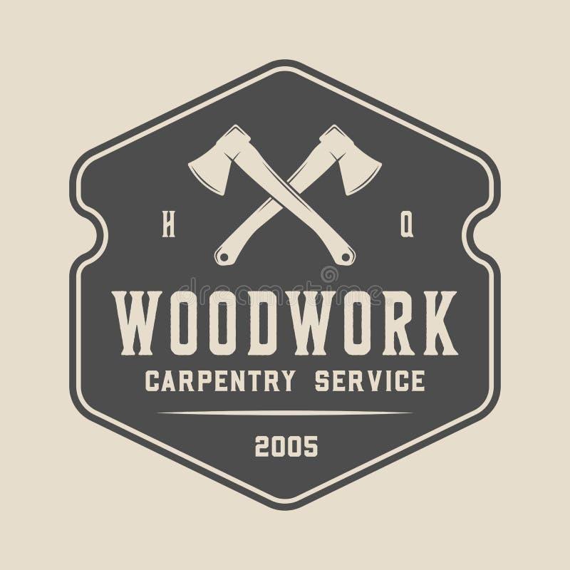 Εκλεκτής ποιότητας ξυλουργική, ξυλουργική και μηχανική ετικέτα, διακριτικό, έμβλημα και λογότυπο r ελεύθερη απεικόνιση δικαιώματος