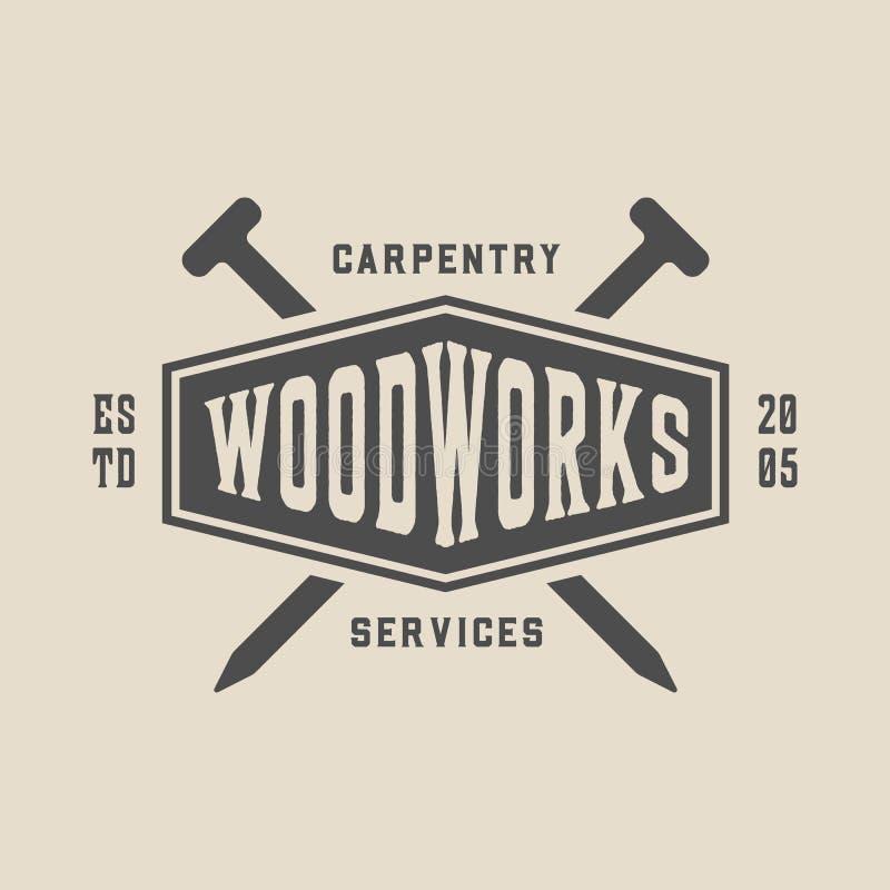 Εκλεκτής ποιότητας ξυλουργική, ξυλουργική και μηχανική ετικέτα, διακριτικό, έμβλημα και λογότυπο r διανυσματική απεικόνιση