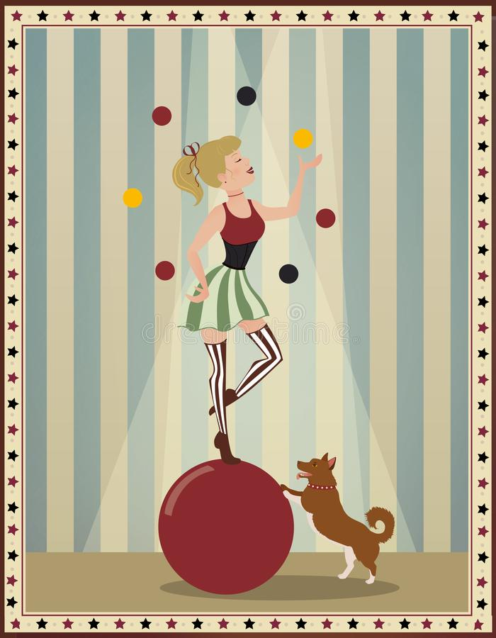 Εκλεκτής ποιότητας παλαιά απεικόνιση τσίρκων ενός αναδρομικού και εκλεκτής ποιότητας υποβάθρου αφισών τσίρκων, με την κόκκινη και ελεύθερη απεικόνιση δικαιώματος