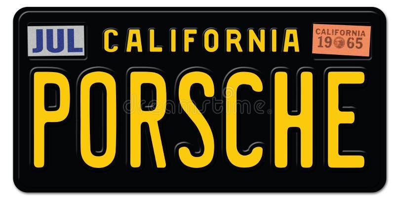 Εκλεκτής ποιότητας πινακίδα αριθμού κυκλοφορίας της Porsche αναδρομική διανυσματική απεικόνιση