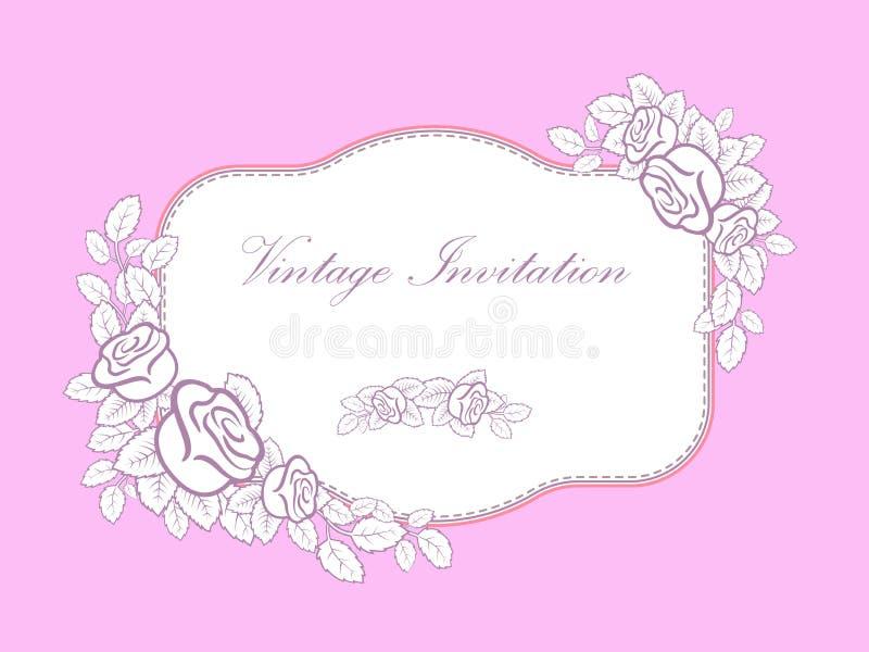 Εκλεκτής ποιότητας πλαίσιο από τα τριαντάφυλλα και τα φύλλα λουλουδιών Εορταστικό υπόβαθρο για την πρόσκληση, ευχετήριες κάρτες γ διανυσματική απεικόνιση