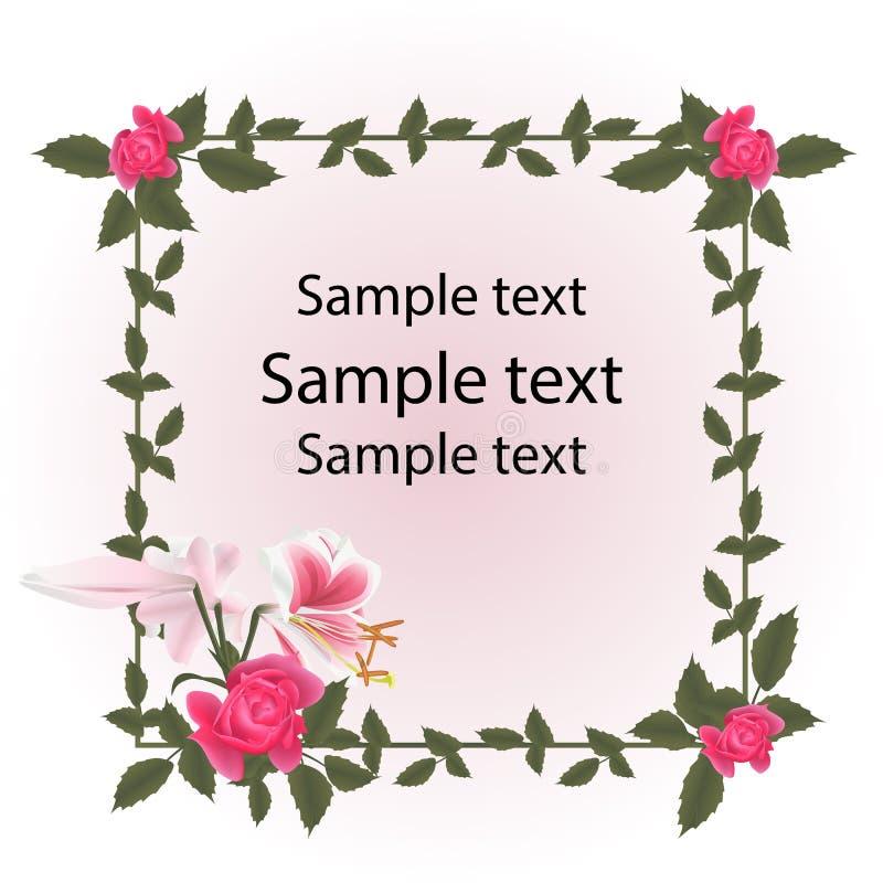 Εκλεκτής ποιότητας πλαίσιο καρτών Τα κόκκινα τριαντάφυλλα και το λουλούδι κρίνων είναι ρόδινο λευκό ελεύθερη απεικόνιση δικαιώματος