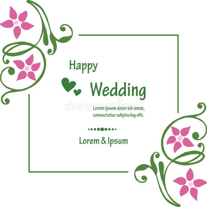 Εκλεκτής ποιότητας πλαίσιο, πλαίσιο λουλουδιών στοιχείων σχεδίου, ευτυχής γάμος καρτών πρόσκλησης r διανυσματική απεικόνιση
