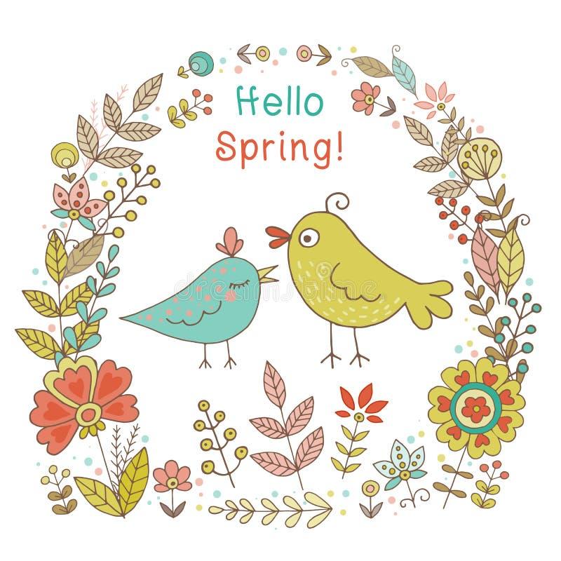Εκλεκτής ποιότητας πλαίσιο με τα πουλιά και τα λουλούδια διανυσματική απεικόνιση