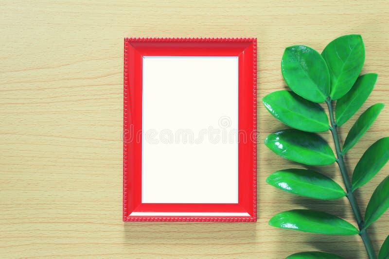 Εκλεκτής ποιότητας πλαίσιο φωτογραφιών και πράσινα φύλλα που τοποθετούνται στο καφετί ξύλινο floo στοκ φωτογραφίες