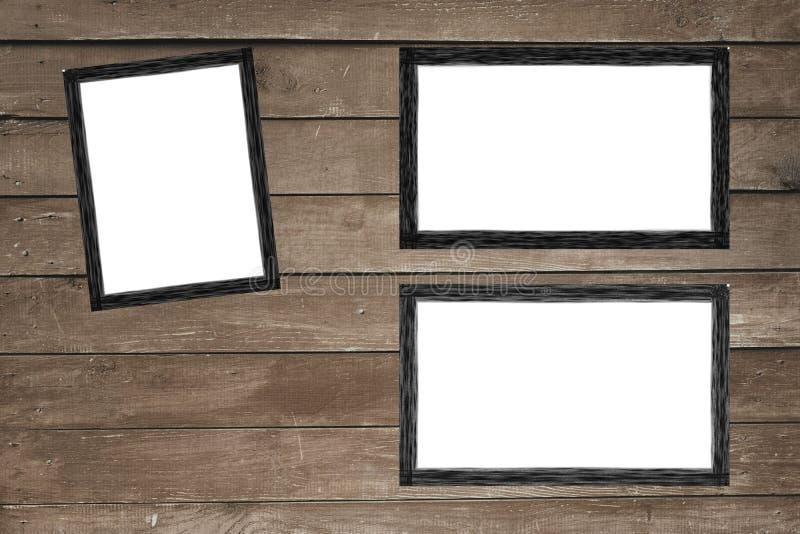 Εκλεκτής ποιότητας πλαίσιο φωτογραφιών στο ξύλινο υπόβαθρο ελεύθερη απεικόνιση δικαιώματος