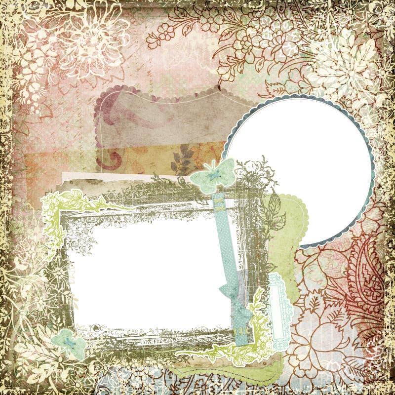 Εκλεκτής ποιότητας πλαίσιο 4 ανασκόπησης ύφους βοτανικό Floral απεικόνιση αποθεμάτων