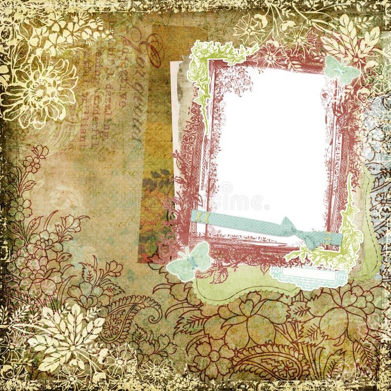 Εκλεκτής ποιότητας πλαίσιο 5 ανασκόπησης ύφους βοτανικό Floral διανυσματική απεικόνιση