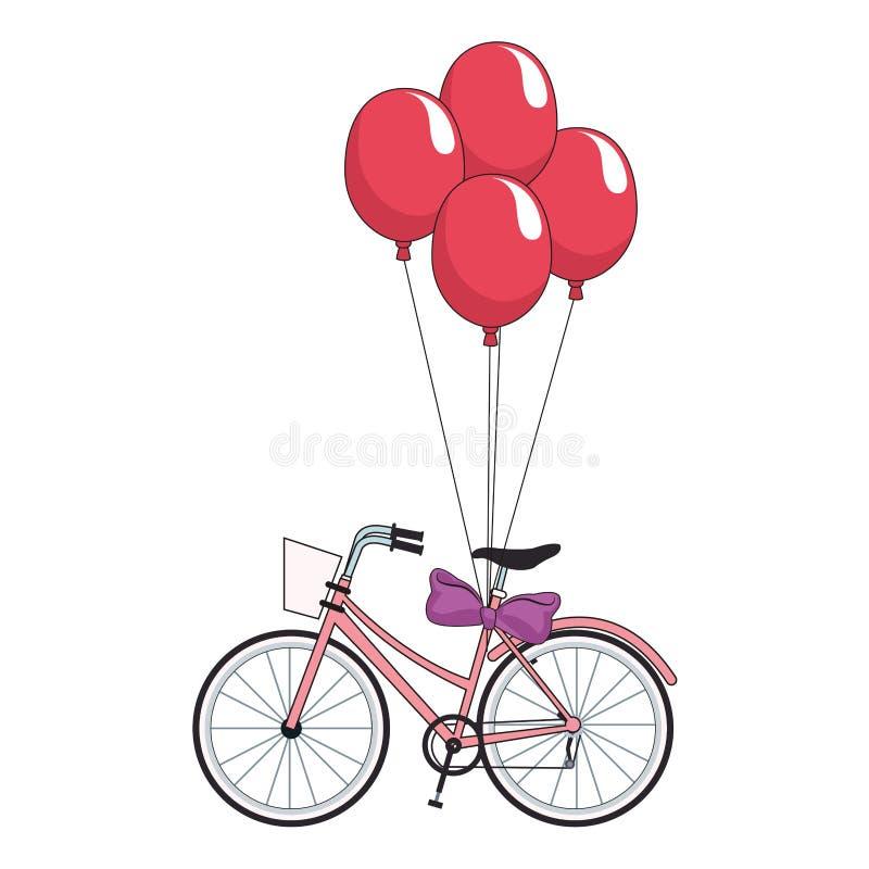 Εκλεκτής ποιότητας ποδήλατο με τα μπαλόνια ελεύθερη απεικόνιση δικαιώματος