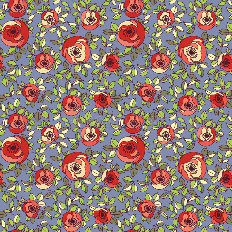 Εκλεκτής ποιότητας πολύχρωμο άνευ ραφής πρότυπο τριαντάφυλλων απεικόνιση αποθεμάτων