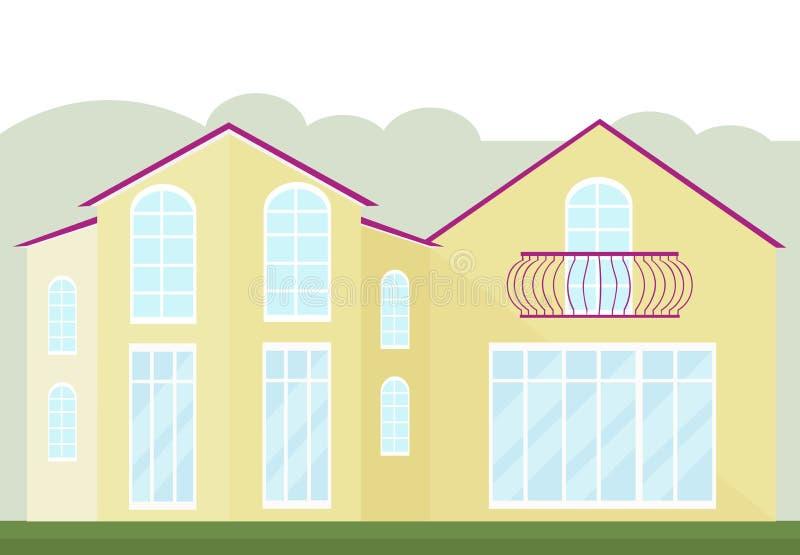 Εκλεκτής ποιότητας πρόσοψη αρχιτεκτονικής ενός κίτρινου κτηρίου γυαλιού Διανυσματικό υπόβαθρο φθινοπώρου απεικόνισης διανυσματική απεικόνιση