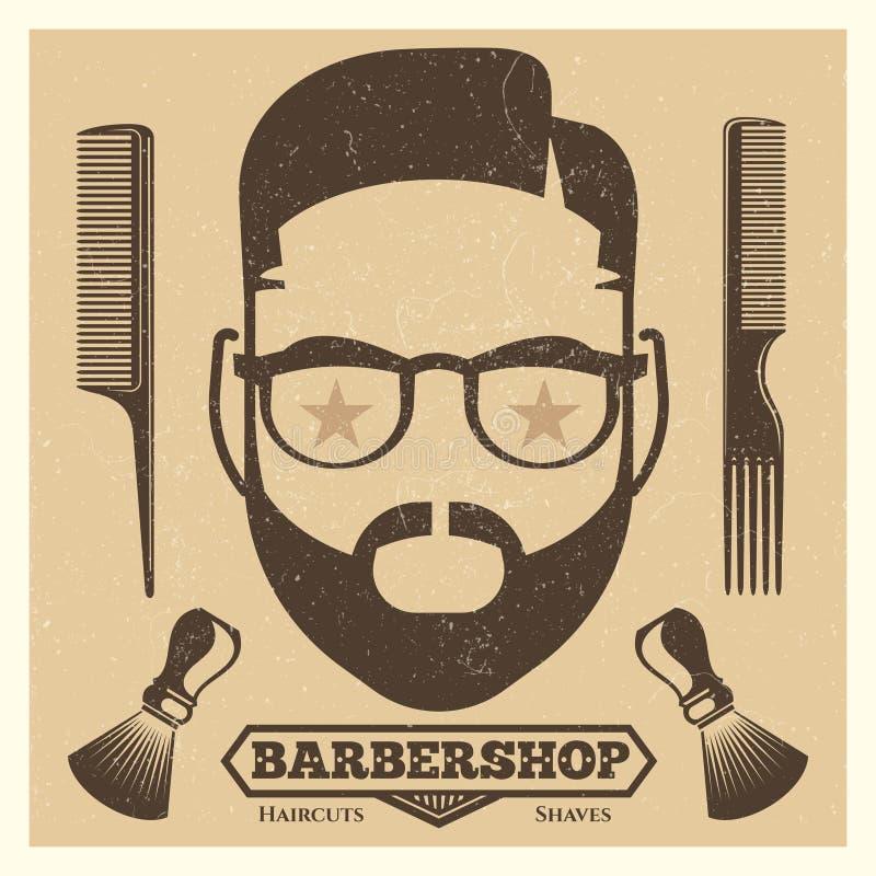 Εκλεκτής ποιότητας πρότυπο αφισών barbershop Τυπωμένη ύλη μόδας hipster απεικόνιση αποθεμάτων