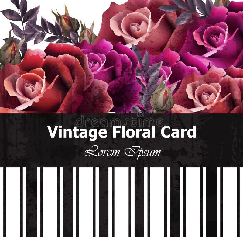 Εκλεκτής ποιότητας ρεαλιστική floral κάρτα τριαντάφυλλων Όμορφα υπόβαθρα Αναδρομικό πρότυπο μορφών σχεδίου γραφικό διανυσματική απεικόνιση
