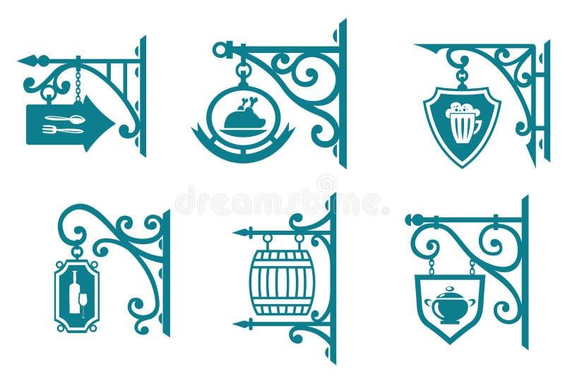 Εκλεκτής ποιότητας σημάδια των μπαρ, ταβέρνες απεικόνιση αποθεμάτων