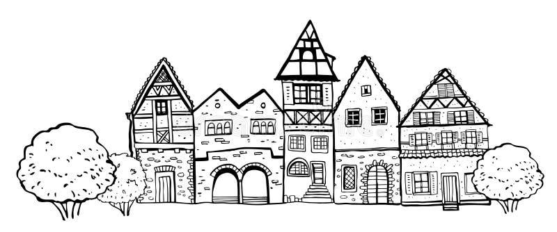 Εκλεκτής ποιότητας σπίτια της Ευρώπης πετρών Πέντε παλαιές προσόψεις οικοδόμησης ύφους με τις εγκαταστάσεις Συρμένη χέρι απεικόνι διανυσματική απεικόνιση