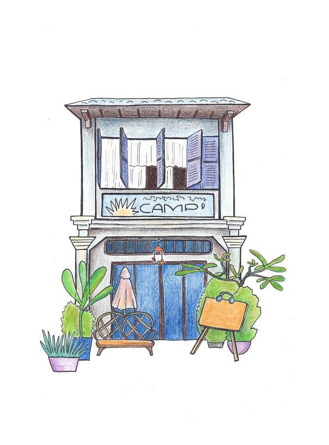 Εκλεκτής ποιότητας σπίτι με το σχέδιο πινάκων διαφημίσεων Αποικιακή handdrawn απεικόνιση αρχιτεκτονικής Σκίτσο ταξιδιού της Καμπό ελεύθερη απεικόνιση δικαιώματος
