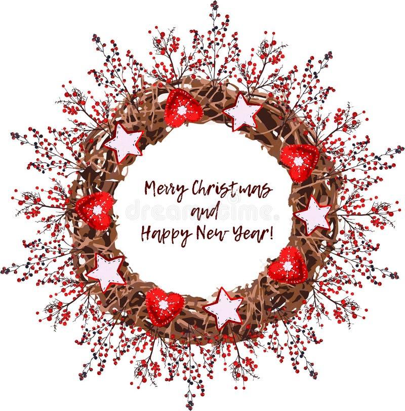 Εκλεκτής ποιότητας στεφάνι Χριστουγέννων φιαγμένο από κλάδους ελεύθερη απεικόνιση δικαιώματος