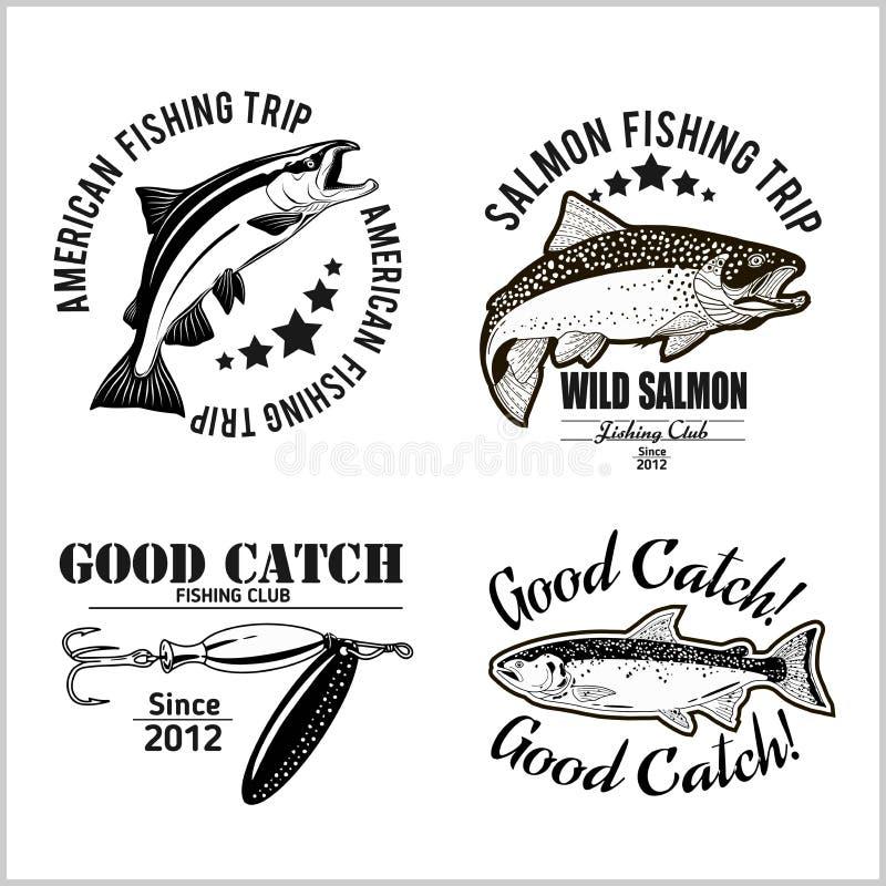 Εκλεκτής ποιότητας στοιχεία εμβλημάτων, ετικετών και σχεδίου αλιείας σολομών επίσης corel σύρετε το διάνυσμα απεικόνισης απεικόνιση αποθεμάτων