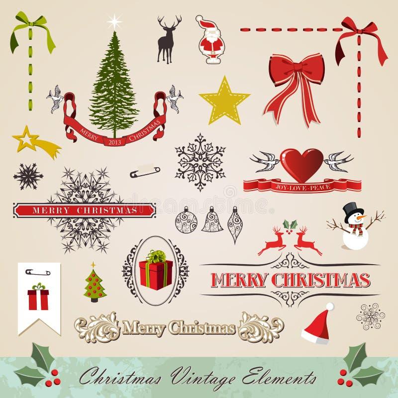 Εκλεκτής ποιότητας στοιχεία Χριστουγέννων που τίθενται διανυσματική απεικόνιση
