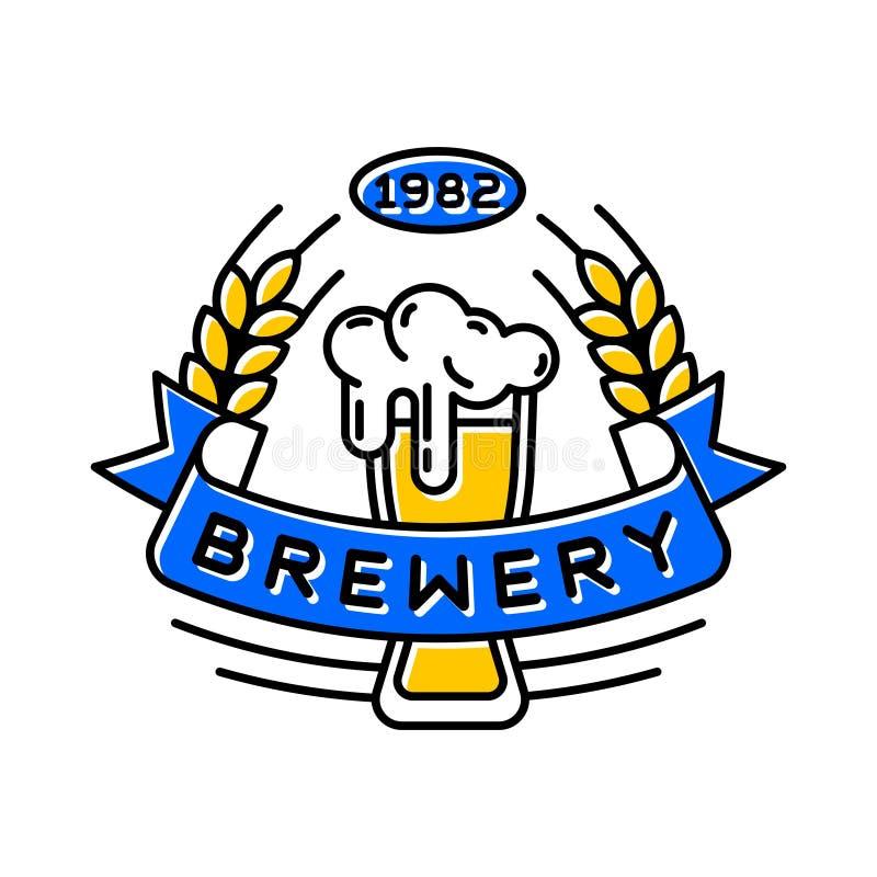 Εκλεκτής ποιότητας στοιχείο σχεδίου μπύρας τεχνών αναδρομικό, έμβλημα, σύμβολο ή εικονίδιο, ετικέτα μπαρ, διακριτικό Ζυθοποιείο λ απεικόνιση αποθεμάτων