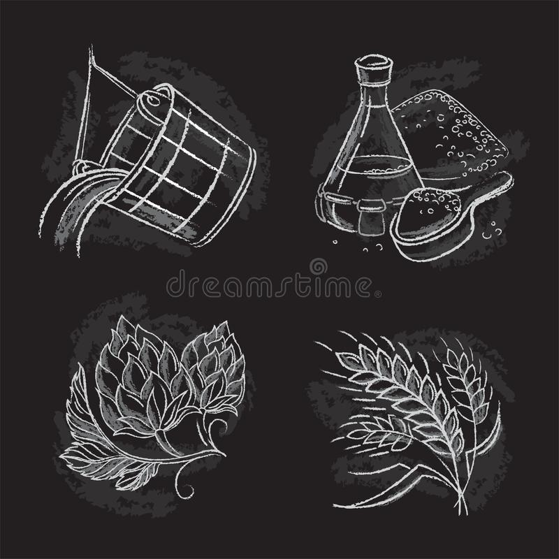 Εκλεκτής ποιότητας συρμένες χέρι απεικονίσεις των τμημάτων ζυθοποιών διανυσματική απεικόνιση