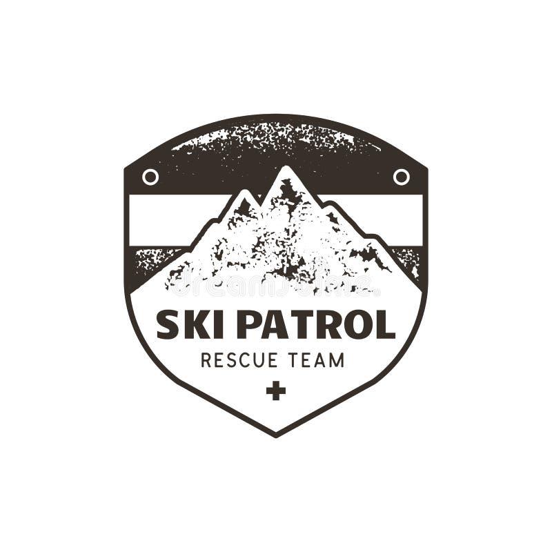Εκλεκτής ποιότητας συρμένο χέρι έμβλημα περιπόλου σκι βουνών Μπάλωμα ομάδας διάσωσης Γραμματόσημο βουνών Μονοχρωματικός, grunge l ελεύθερη απεικόνιση δικαιώματος