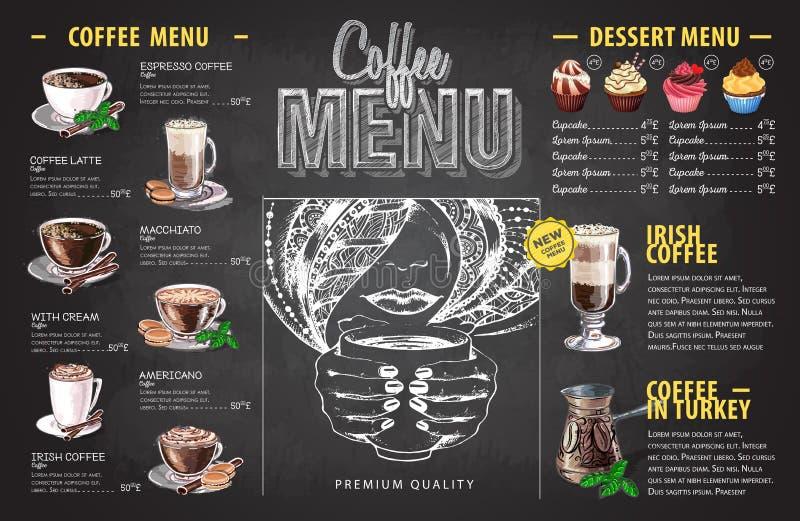 Εκλεκτής ποιότητας σχέδιο επιλογών καφέ σχεδίων κιμωλίας Κατάλογος επιλογής γρήγορου φαγητού απεικόνιση αποθεμάτων