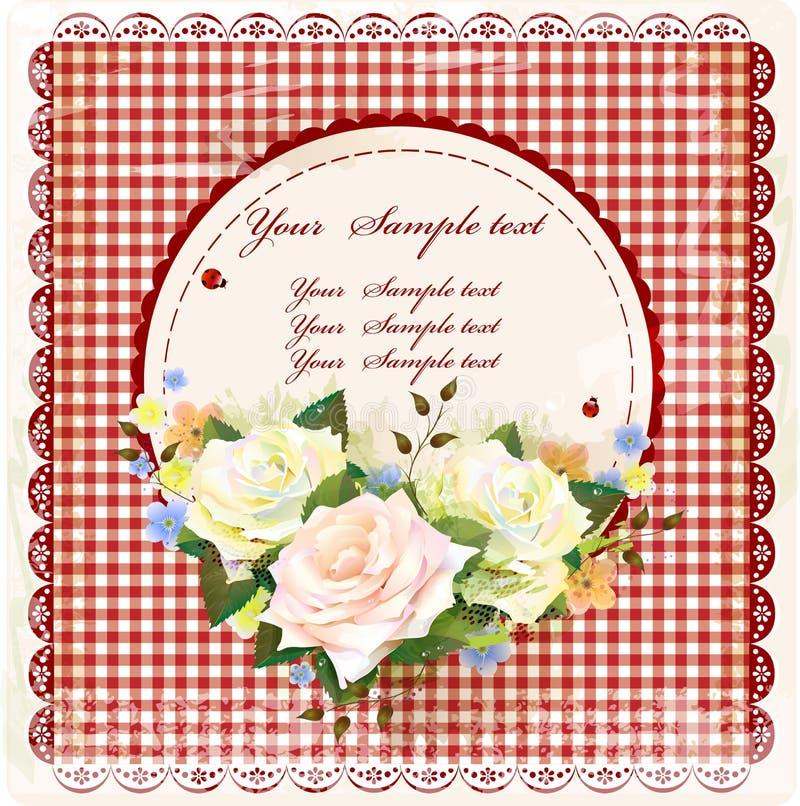 Εκλεκτής ποιότητας σχέδιο με τα τριαντάφυλλα ελεύθερη απεικόνιση δικαιώματος