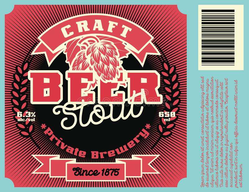 Εκλεκτής ποιότητας σχέδιο πλαισίων για την ετικέτα μπύρας διανυσματική απεικόνιση
