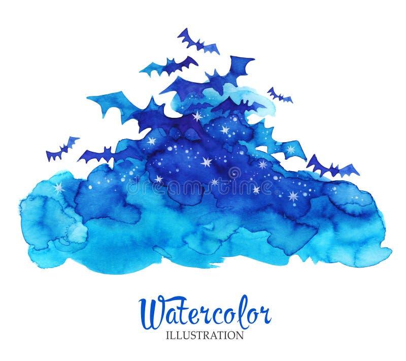 Εκλεκτής ποιότητας σύννεφα Watercolor με τα ρόπαλα εύκολος επιμεληθείτε τη νύχτα εικόνας αποκριών στο διάνυσμα απεικόνιση αποθεμάτων