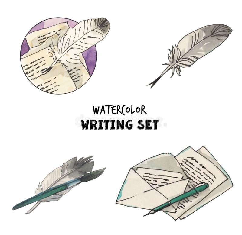 Εκλεκτής ποιότητας σύνολο ποίησης Watercolor απεικονίσεων Επιστολές, φτερό, εργαλεία μανδρών, μάνδρες Συρμένες χέρι απεικονίσεις ελεύθερη απεικόνιση δικαιώματος