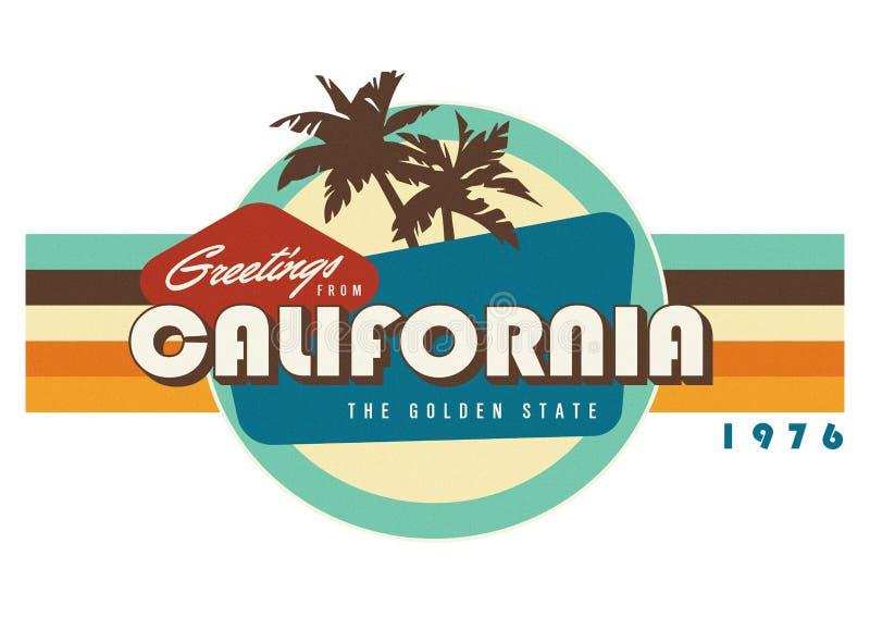 Εκλεκτής ποιότητας τέχνη σχεδίου μπλουζών ύφους καρτών Καλιφόρνιας ελεύθερη απεικόνιση δικαιώματος