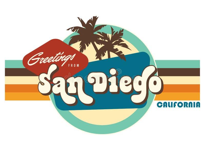 Εκλεκτής ποιότητας τέχνη σχεδίου μπλουζών ύφους καρτών του Σαν Ντιέγκο Καλιφόρνια διανυσματική απεικόνιση