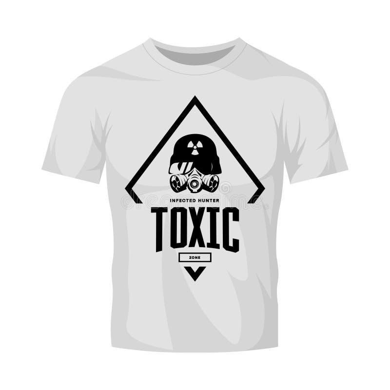Εκλεκτής ποιότητας τοξικός αναβάτης στο διανυσματικό λογότυπο μασκών αερίου που απομονώνεται στην άσπρη χλεύη μπλουζών επάνω απεικόνιση αποθεμάτων