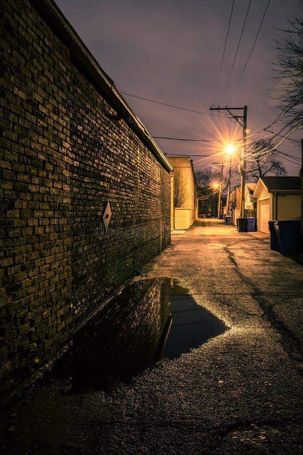 Εκλεκτής ποιότητας τουβλότοιχος σε μια σκοτεινή, χαλικώδη και υγρή αλέα του Σικάγου στοκ φωτογραφία με δικαίωμα ελεύθερης χρήσης