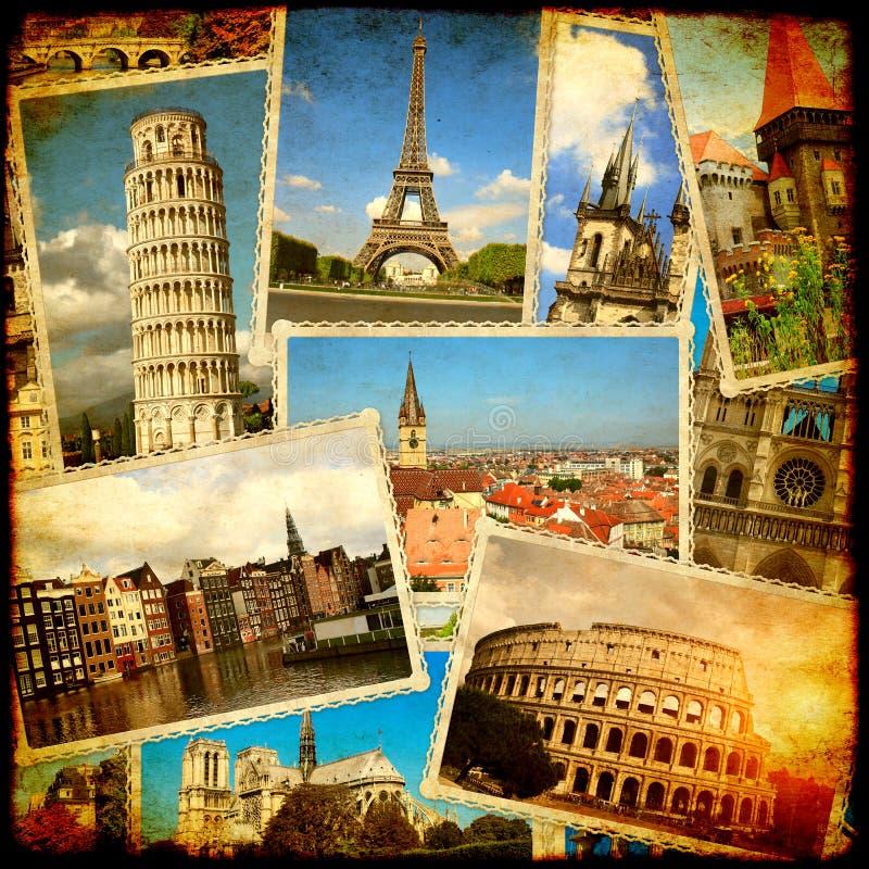 Εκλεκτής ποιότητας υπόβαθρο ταξιδιού με τις αναδρομικές φωτογραφίες των ευρωπαϊκών ορόσημων απεικόνιση αποθεμάτων