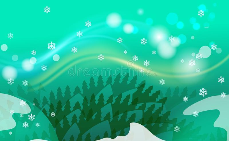 Εκλεκτής ποιότητας υπόβαθρο Χαρούμενα Χριστούγεννας με τα πράσινες δέντρα και τις διακοσμήσεις από ελαφριά snowflakes Για τα νέα  ελεύθερη απεικόνιση δικαιώματος