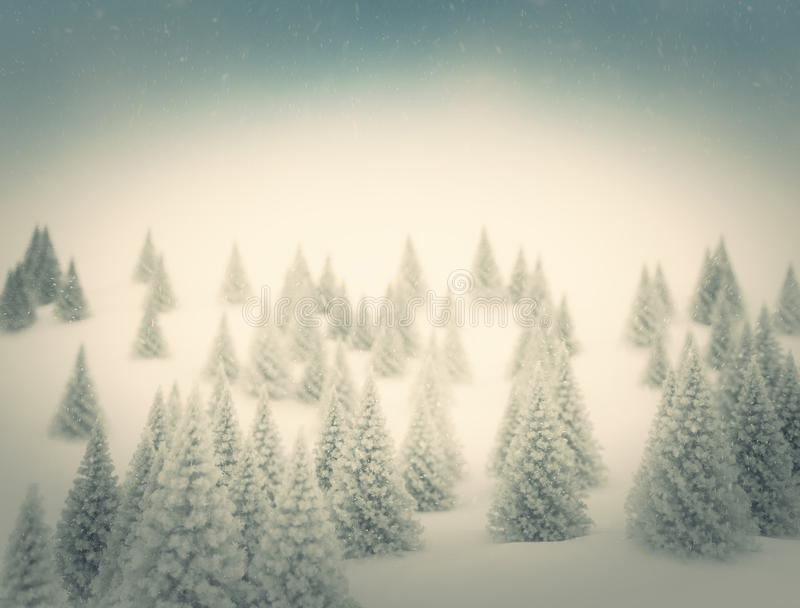 Υπόβαθρο Χριστουγέννων με τα χιονώδη δέντρα έλατου στοκ εικόνες με δικαίωμα ελεύθερης χρήσης