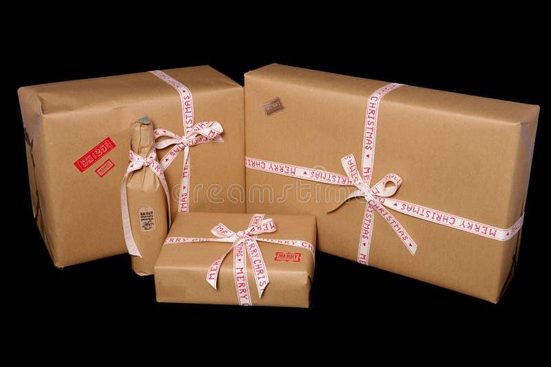 Εκλεκτής ποιότητας φανείτε χριστουγεννιάτικα δώρα στοκ φωτογραφία με δικαίωμα ελεύθερης χρήσης