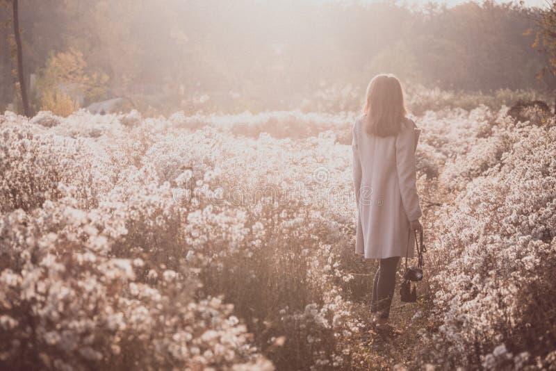 Εκλεκτής ποιότητας φθινόπωρο και κορίτσι στοκ εικόνα