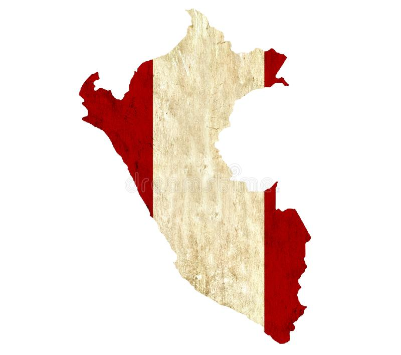 Εκλεκτής ποιότητας χάρτης εγγράφου του Περού διανυσματική απεικόνιση