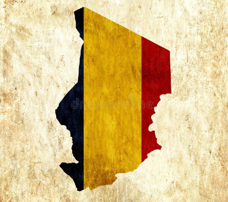 Εκλεκτής ποιότητας χάρτης εγγράφου του Chad διανυσματική απεικόνιση