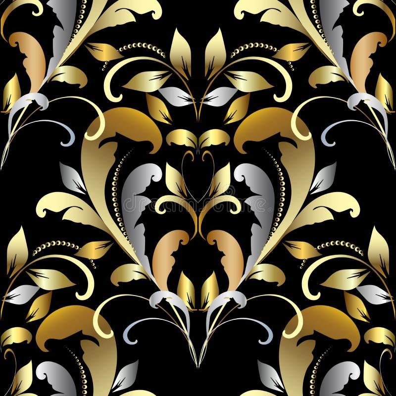 Εκλεκτής ποιότητας χρυσό ασημένιο damask άνευ ραφής σχέδιο Floral μπαρόκ styl απεικόνιση αποθεμάτων