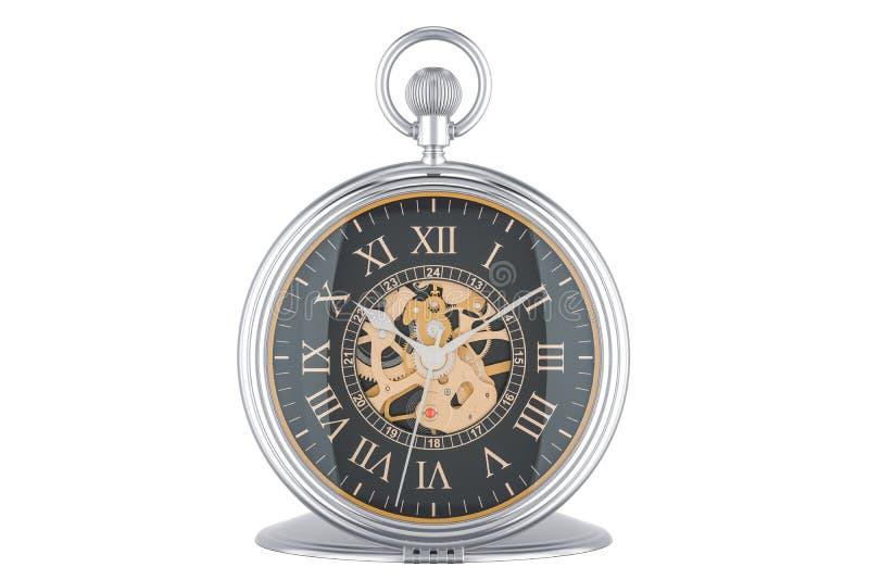 Εκλεκτής ποιότητας χρυσό ρολόι τσεπών με το μαύρο πρόσωπο πινάκων, τρισδιάστατη απόδοση απεικόνιση αποθεμάτων