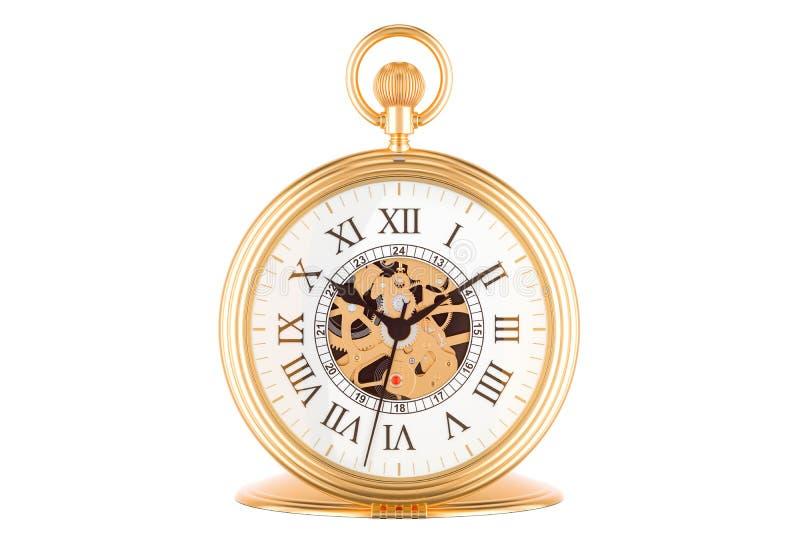 Εκλεκτής ποιότητας χρυσό ρολόι τσεπών, τρισδιάστατη απόδοση ελεύθερη απεικόνιση δικαιώματος