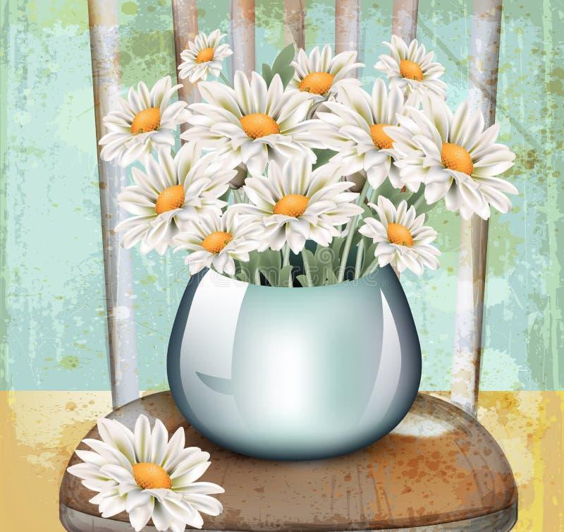 Εκλεκτής ποιότητας chamomile διάνυσμα ανθοδεσμών Floral ντεκόρ άνοιξη στα παλαιά υπόβαθρα grunge διανυσματική απεικόνιση