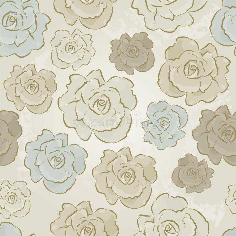 Εκλεκτής ποιότητας Floral άνευ ραφής διανυσματικό πρότυπο των τριαντάφυλλων διανυσματική απεικόνιση