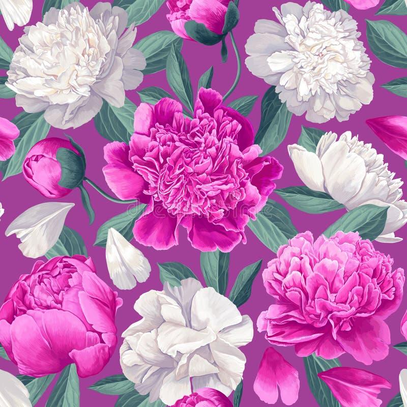 Εκλεκτής ποιότητας floral άνευ ραφής σχέδιο με τα peonies απεικόνιση αποθεμάτων