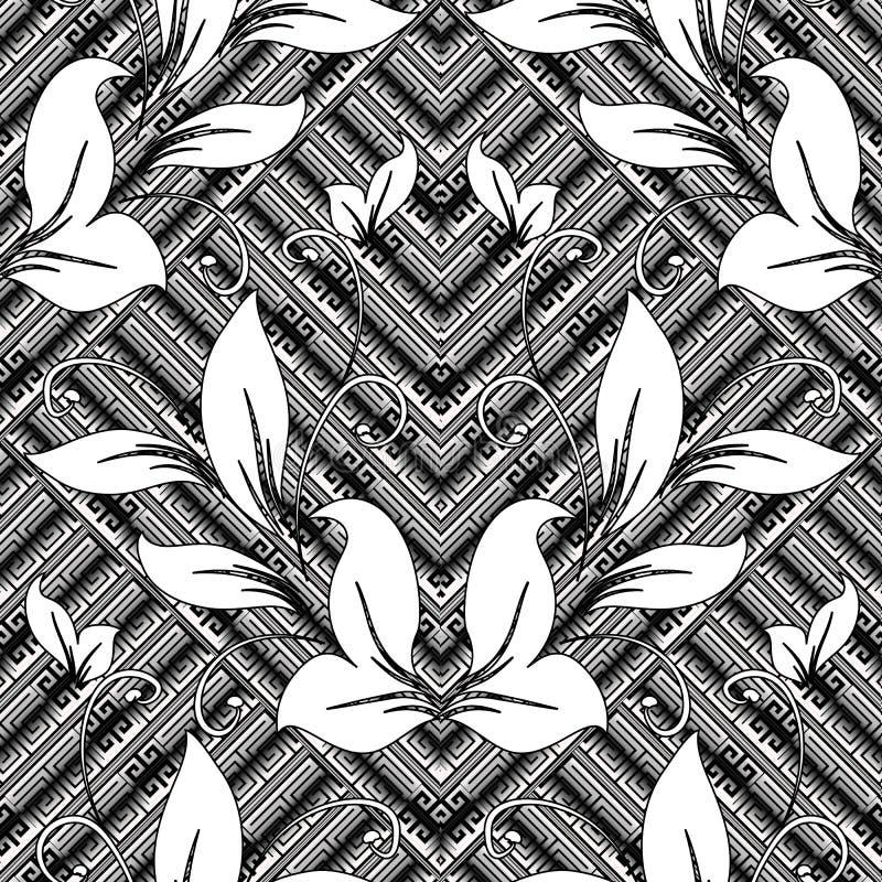 Εκλεκτής ποιότητας floral ελληνικό βασικό διανυσματικό άνευ ραφής σχέδιο μαιάνδρων Ornam απεικόνιση αποθεμάτων