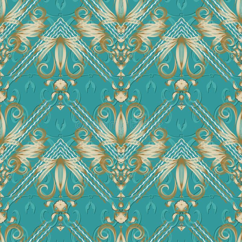 Εκλεκτής ποιότητας floral ριγωτό άνευ ραφής σχέδιο Τυρκουάζ διάνυσμα backgr απεικόνιση αποθεμάτων